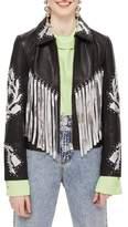 Topshop Austin Floral Silver Fringed Leather Jacket