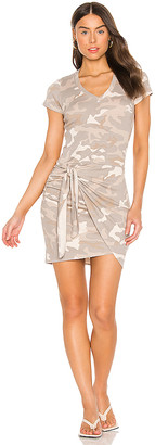 Monrow Urban Camo Short Sleeve V Dress With Tie