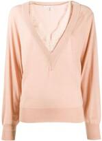 Chloé pink v-neck lace knit top