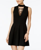 Crystal Doll Juniors' Lace-Up Hardware Dress