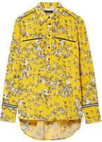 Rag & Bone Martel Grosgrain-trimmed Floral-print Silk-twill Shirt - Yellow