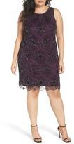 Pisarro Nights Floral Motif Embellished Sheath Dress (Plus Size)