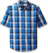 Sean John Men's Big and Tall Short Sleeve Satin Weave Indigo Shirt