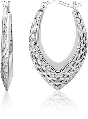 Overstock Sterling Silver Fancy Weave Style Texture Hoop Earrings
