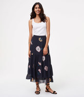 LOFT Peony Tiered Maxi Skirt