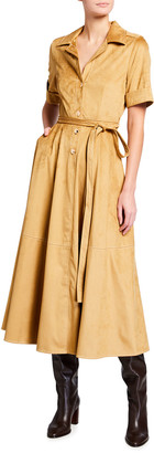 STAUD Millie Faux-Suede Pleated Midi Shirtdress