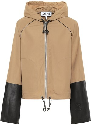 Loewe Hooded leather-trimmed cotton jacket
