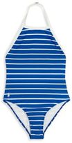Ralph Lauren Girl's One-Piece Striped Halter Swimsuit