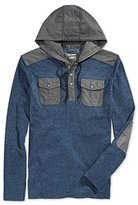 DKNY Men's Long Sleeve Loose Knit Jaspe Jersey/ Chambray Mix Hooded Henley