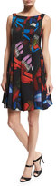 Armani Collezioni Sleeveless Printed Envers Fit-&-Flare Dress