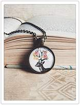 Happiness Home deer and flowers necklace, spring necklace, dear jewelry, deer necklace, flow...