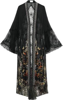Camilla Crebelle Rebelle Lace-paneled Embellished Printed Silk-chiffon Robe