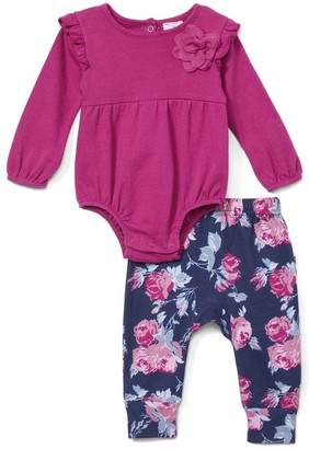 Laura Ashley Baby Girls' Infant Bodysuits - Magenta Floral Ruffle Bodysuit & Purple Floral Ruffle Leggings - Newborn