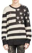 Balmain Ripped American Flag Cotton Sweater