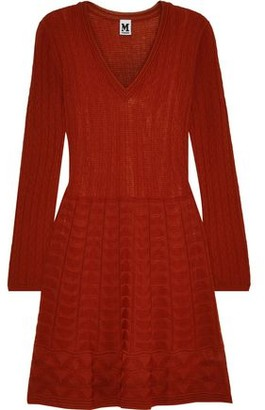 M Missoni Flared Crochet-knit Wool-blend Mini Dress