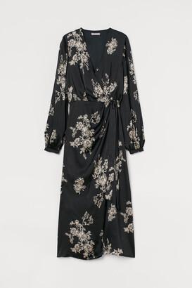 H&M Draped Wrap-front Dress - Black