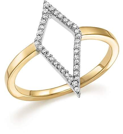 Adina Sterling Silver and 14K Yellow Gold Pavé Diamond Cutout Ring