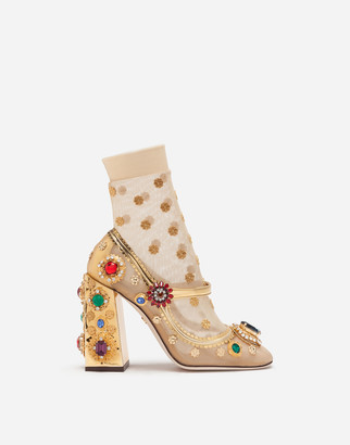 Dolce & Gabbana Mirrored Calfskin Mary Janes With Bejeweled Embellishment