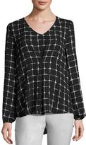Neiman Marcus V-Neck Pleat-Front Blouse, Black/White