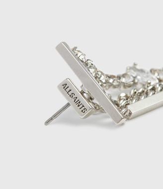 AllSaints Neve Silver Tone Glass Cubic Zirconia Drop Earrings
