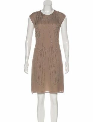 Rue Du Mail Embellished Knee-Length Dress Khaki