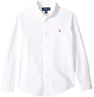 Polo Ralph Lauren Kids Cotton Oxford Sport Shirt (Little Kids/Big Kids) (White) Boy's Long Sleeve Button Up