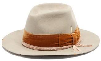 Nick Fouquet Flanged Velvet-trimmed Fedora Hat - Beige