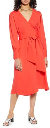 Halogen Long Sleeve Wrap Midi Dress