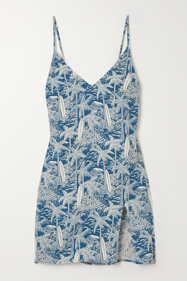 Reformation Marlowe Printed Crepe Mini Dress - Blue