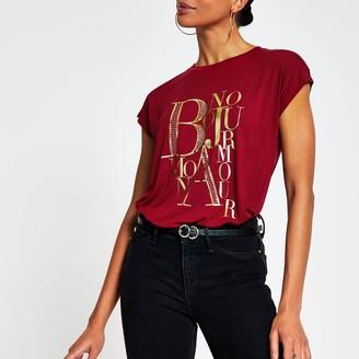 River Island Womens Red short sleeve 'Bonjour' print t-shirt