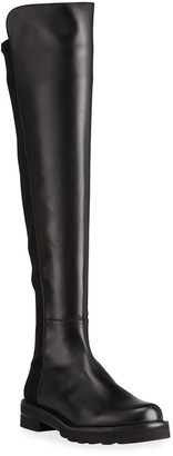 Stuart Weitzman Leather Stretch Knee Boots