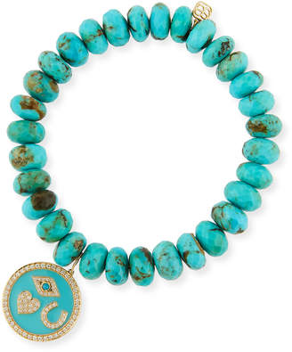 Sydney Evan Protection Tableau Medallion Bracelet w/ Turquoise & Diamonds