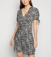 New Look Floral Print Tie Sleeve Mini Dress