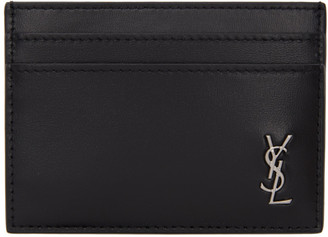 Saint Laurent Black and Silver Tiny Monogramme Card Holder