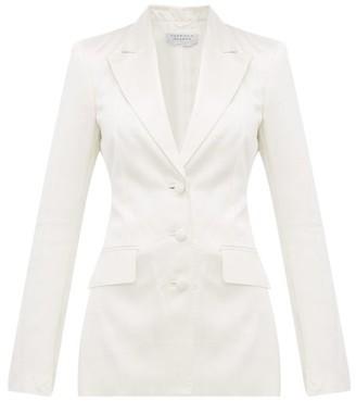 Gabriela Hearst Windowpane-check Single-breasted Satin Blazer - Ivory