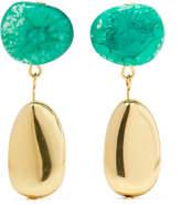 Dinosaur Designs Short Mineral Gold-filled Resin Earrings - Green