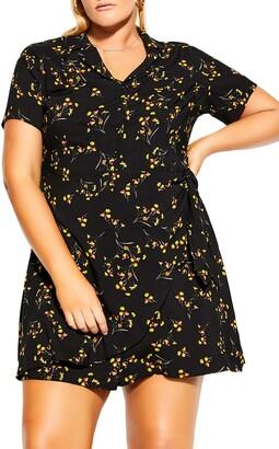 City Chic Spring Tie Print Dress