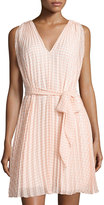 Max Studio Pleated Gingham Sleeveless Dress, Coral/Off White