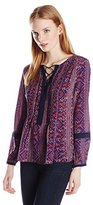 Greylin Women's Tricia Printed Silk Pintucked Blouse
