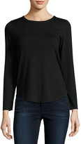 Neiman Marcus Basic Crewneck Long-Sleeve Tee, Black