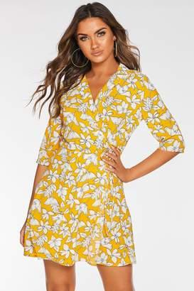 Quiz Mustard Floral Print Wrap Dress