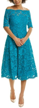 Teri Jon Floral Lace A-Line Dress