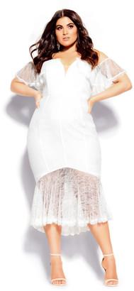City Chic Lace Violet Dress - ivory
