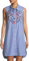 Neiman Marcus Sleeveless Striped Tunic w/ Floral Embroidery