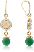 Rebecca Boulevard Stone Yellow Gold Over Bronze Dangle Earrings w/Green Hydrothermal Stone