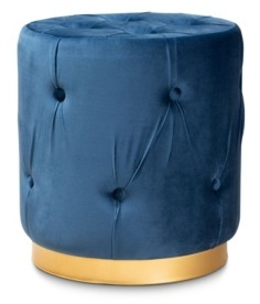 Furniture Gaia Glam and Luxe Upholstered Button Tufted Ottoman