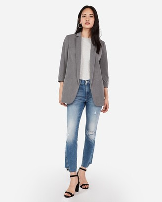 Express Rolled Sleeve Textured Boyfriend Blazer