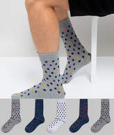 Burton Menswear Socks With Spots In Blue 5 Pack