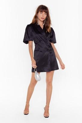 Nasty Gal Womens We'Re Busy Satin Blazer Dress - Black - 4