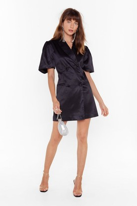 Nasty Gal Womens We're Busy Satin Blazer Dress - Black